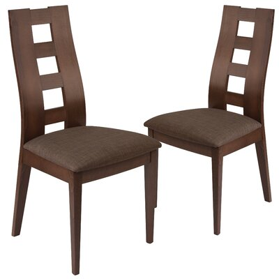 Hutcheson Upholstered Dining Chair Upholstery Color: Brown, Frame Color: Expresso