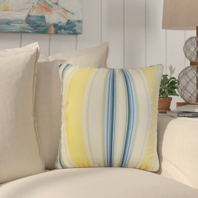 Afrin Stripes Cotton Throw Pillow Color: Yellow/Blue