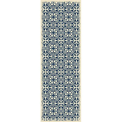 Hottinger Blue/White Indoor/Outdoor Area Rug Size: Runner 2 x 6