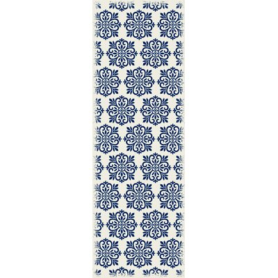 Hostetler Modern European Blue/White Indoor/Outdoor Area Rug Size: Runner 2 x 6
