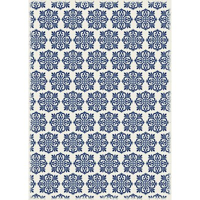 Classen Modern European Design Blue/White Indoor/Outdoor Area Rug Rug Size: Rectangle 4 x 6