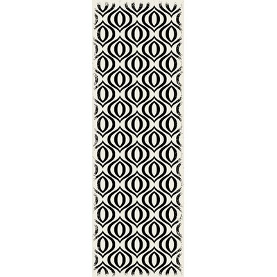 Crain Ring Design Black/White Indoor/Outdoor Area Rug Rug Size: Runner 2 x 6