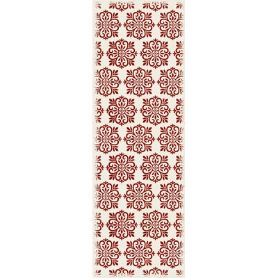 Cotner Modern European Design Red/White Indoor/Outdoor Area Rug Rug Size: Runner 2 x 6