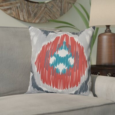 Eudora Original Outdoor Throw Pillow Size: 18 H x 18 W, Color: Gray/Coral