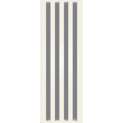 Croom Strips Design Gray/White Indoor/Outdoor Area Rug Rug Size: Runner 2 x 6