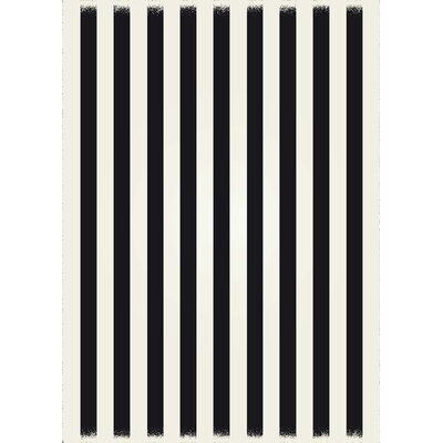 Cousar Strips of European Black/White Indoor/Outdoor Area Rug Size: Rectangle 5 x 7