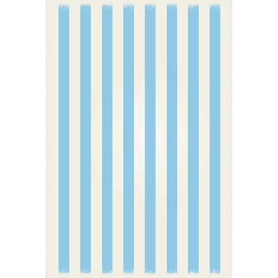 Couto Strips of European Light Blue/White Indoor/Outdoor Area Rug Size: Rectangle 4 x 6