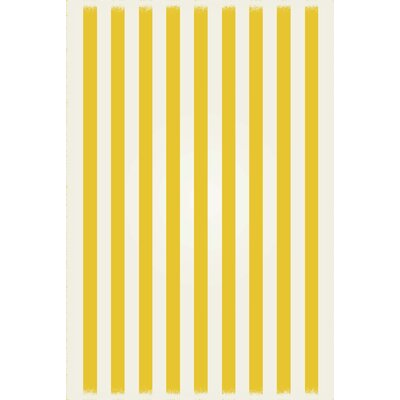 Couture Strips of European Yellow/White Indoor/Outdoor Area Rug Size: Rectangle 4 x 6