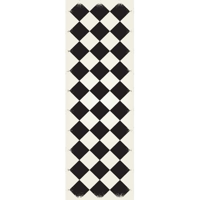 Bostick Diamond European Black/White Indoor/Outdoor Area Rug Size: Runner 2 x 6