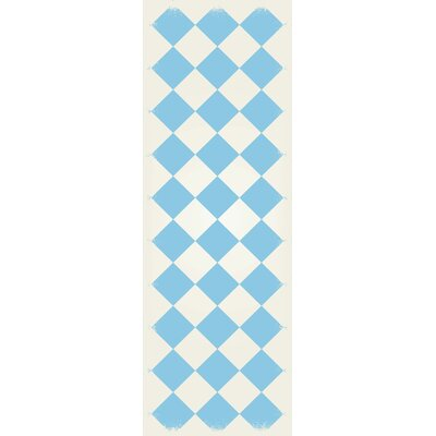 Welton Diamond European Design Light Blue/White Indoor/Outdoor Area Rug Rug Size: Runner 2 x 6
