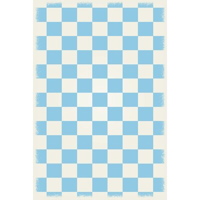 Wenger Light Blue/White Indoor/Outdoor Area Rug Rug Size: Rectangle 4 x 6