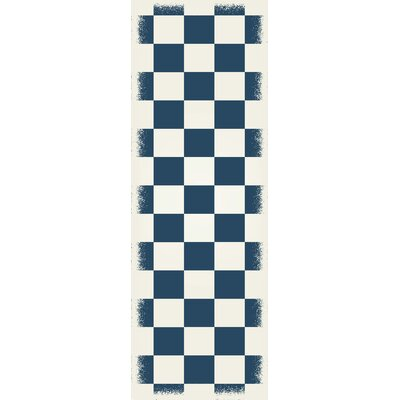Case Checker Blue/White Indoor/Outdoor Area Rug Size: Runner 2 x 6
