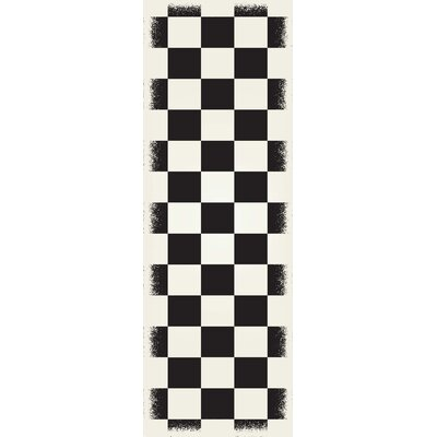 Biton English Checker Black/White Indoor/Outdoor Area Rug Size: Runner 2 x 6