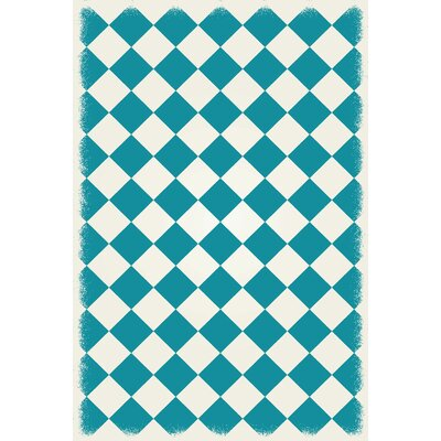 Wendland Diamond European Design Teal/White Indoor/Outdoor Area Rug Rug Size: Rectangle 4 x 6