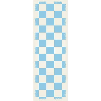 Fludder English Checker Light Blue/White Indoor/Outdoor Area Rug Size: Runner 2 x 6