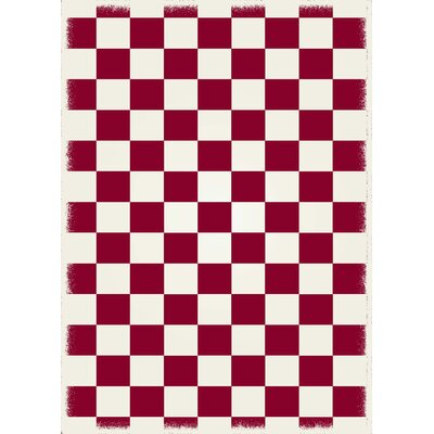 Adabahr Checker Red/White Indoor/Outdoor Area Rug Size: Rectangle 4 x 6