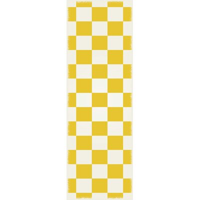 DiMartino Checker Yellow/White Indoor/Outdoor Area Rug Size: Runner 2 x 6