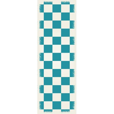 Willse English Checker Teal/White Indoor/Outdoor Area Rug Size: Runner 2 x 6