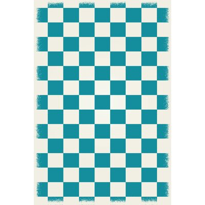 Willse English Checker Teal/White Indoor/Outdoor Area Rug Size: Rectangle 4 x 6