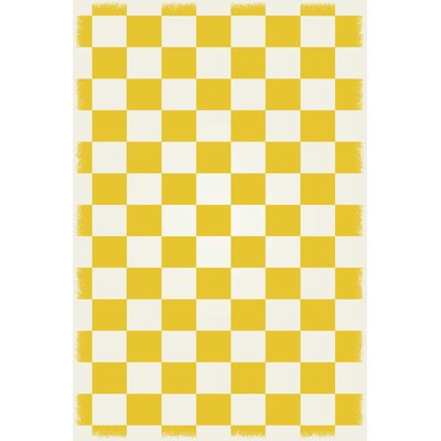 DiMartino Checker Yellow/White Indoor/Outdoor Area Rug Size: Rectangle 4 x 6