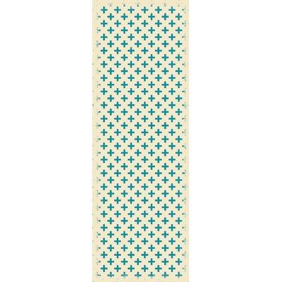 Frakes Elegant Cross Teal/White Indoor/Outdoor Area Rug Size: Runner 2 x 6