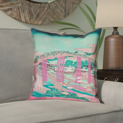 Enya Japanese Bridge Double Sided Print Pillow Cover Color: Pink/Teal, Size: 16 x 16