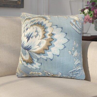 Fredrik Modern Floral Cotton Throw Pillow Color: Indigo