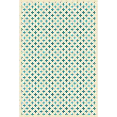 Arocho Elegant Cross Design Teal/Ivory Indoor/Outdoor Area Rug Rug Size: Rectangle 4 x 6