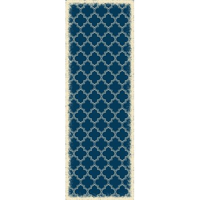 Houchin Quaterfoil Blue/White Indoor/Outdoor Area Rug Size: Runner 2 x 6
