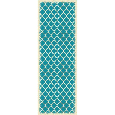 Whitehall Quaterfoil Design Teal/White Indoor/Outdoor Area Rug Rug Size: Runner 2 x 6