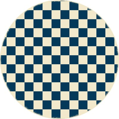 Case Checker Blue/White Indoor/Outdoor Area Rug Size: Round 5