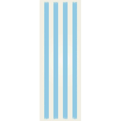 Cropper Strips Design Light Blue/White Indoor/Outdoor Area Rug Rug Size: Runner 2 x 6