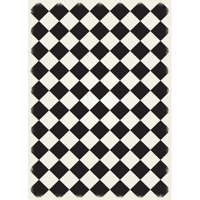Welsh Diamond European Design Black/White Indoor/Outdoor Area Rug Rug Size: Rectangle 5 x 7