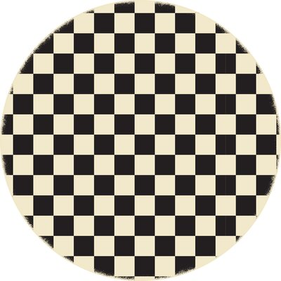 Biton English Checker Black/White Indoor/Outdoor Area Rug Size: Round 5