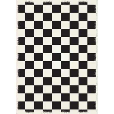 Biton English Checker Black/White Indoor/Outdoor Area Rug Size: Rectangle 4 x 6