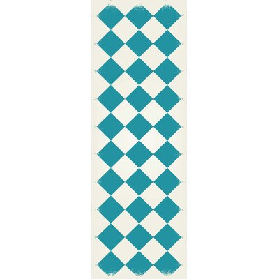 Wendland Diamond European Design Teal/White Indoor/Outdoor Area Rug Rug Size: Runner 2 x 6