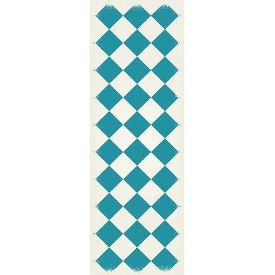Holeman Diamond European Teal/White Indoor/Outdoor Area Rug Size: Runner 2 x 6