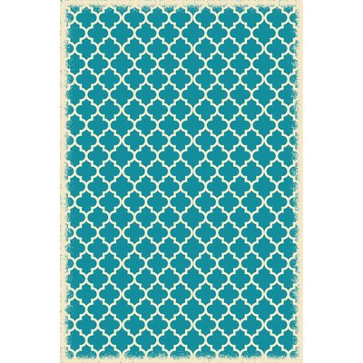 Whitehall Quaterfoil Design Teal/White Indoor/Outdoor Area Rug Rug Size: Rectangle 4 x 6