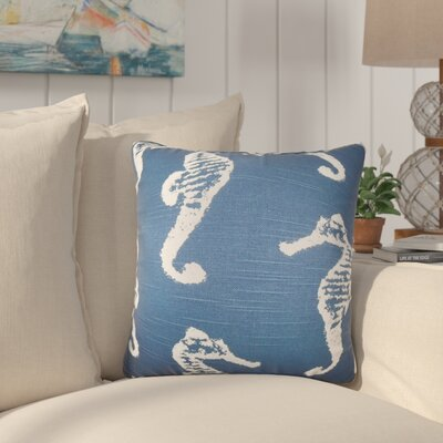 Olivia Coastal Cotton Throw Pillow Color: Navy Blue