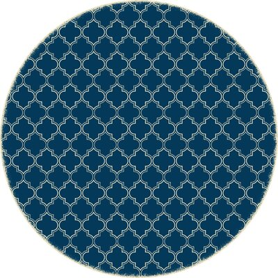 Houchin Quaterfoil Blue/White Indoor/Outdoor Area Rug Size: Round 5
