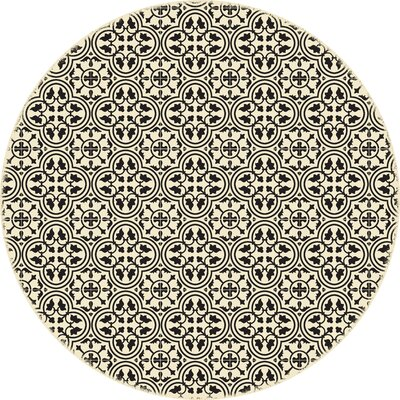 Humble European Circle Black/Beige Indoor/Outdoor Area Rug