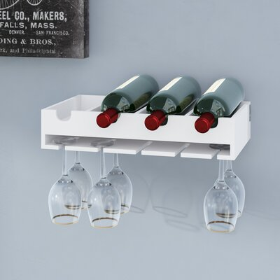 Galloway 4 Bottle Laying Wall Mounted Wine Bottle Rack
