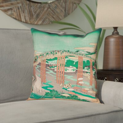 Enya Japanese Bridge Square Pillow Cover Color: Green/Peach, Size: 14 x 14