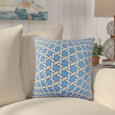 Tarek Geometric Cotton Throw Pillow Color: Blue
