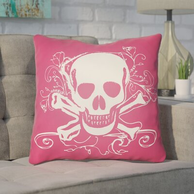 Calindra Skull and Bone Throw Pillow Size: 18 H x 18 W x 4 D, Color: Pink