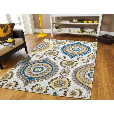 Houchin Wool Beige Indoor/Outdoor Area Rug Rug Size: Rectangle 5 x 8
