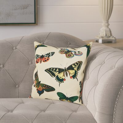 Swan Valley Butterflies Animal Print Throw Pillow Size: 26 H x 26 W, Color: Yellow