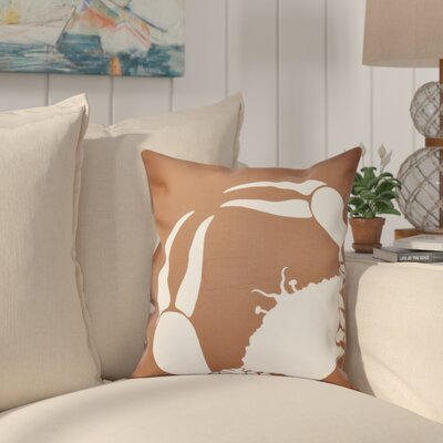 Shirley Mills Crab Outdoor Throw Pillow Size: 20 H x 20 W, Color: Taupe