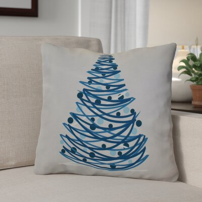 Christmas Tree Outdoor Throw Pillow Size: 16 H x 16 W, Color: Blue