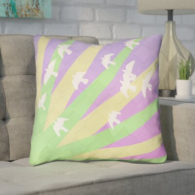 Enciso Birds and Sun 100% Cotton Throw Pillow Color: Green/Yellow/Purple, Size: 14 H x 14 W